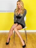 Sexy Young Business Woman Sitting on a Chair in a Short Mini-Dress Stock Images