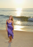 Sexy young Caucasian woman on beach at sunrise Royalty Free Stock Photo