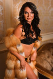 Sexy young Caucasian woman posing  in black lace lingerie and luxury fur coat.Fashion interior photo. Stock Photos
