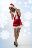 Sexy young christmas girl Stock Photos
