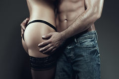 Sexy young couple body together at night Stock Image