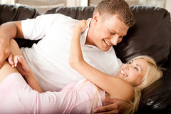 Sexy young couple in love Stock Images