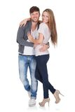 Sexy young couple in loving embrace Stock Images