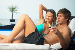 Sexy young couple on resort Stock Photography
