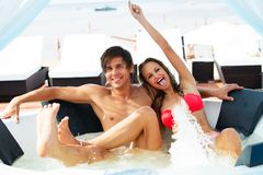 Sexy young couple on a resort Royalty Free Stock Photo