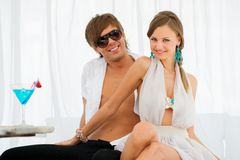 Sexy young couple on a resort Stock Photography