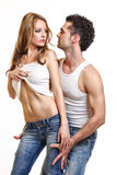 Sexy young couple on white background Royalty Free Stock Images