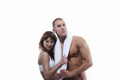 Sexy young couple in white with towel Royalty Free Stock Image