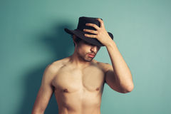 Sexy young cowboy Stock Photos