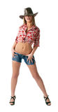 Sexy young cowgirl stand and take herself Royalty Free Stock Images