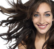 Sexy young fashion model with flying hair Royalty Free Stock Photography