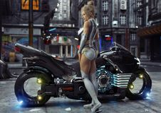 young female in modern attire posing with her custom science fiction light cycle motorcycle in a futuristic urban background stock illustration