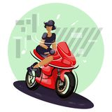 young female sitting on motorbike vector illustration