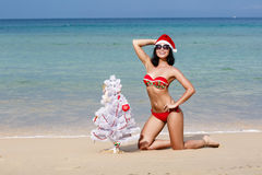 The sexy young girl on a beach in Santa Claus's dress Royalty Free Stock Images