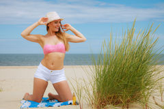 Sexy young girl on beach Royalty Free Stock Images