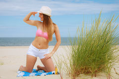 Sexy young girl on beach Stock Photo