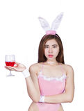 Sexy young girl in lingerie or bunny girl. The Sexy young girl in lingerie or bunny girl Royalty Free Stock Images