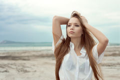 Sexy young girl with long hair Royalty Free Stock Photo