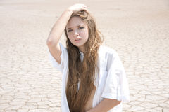 Sexy young girl with long hair Stock Photography