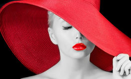 Sexy young girl in red hat Stock Image