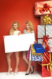 Sexy young ladies Christmas with gifts Stock Photos