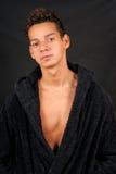 Sexy young man with bathrobe Stock Photo