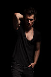 Sexy young man posing in studio Stock Images