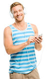 Sexy young man wearing headphones isolated on white Royalty Free Stock Images