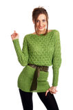 Sexy young model in a green sweater Stock Image