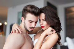 Sexy young naked couple at home foreplay Royalty Free Stock Photos