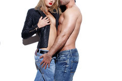 Sexy young naked fashionable couple body Stock Photo