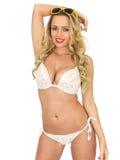 Sexy Young Pin Up Model Wearing a Bikini Stock Photos