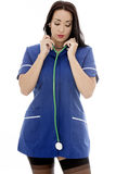 Young Pin Up Model Wearing A Nurses Uniform In Pin Up Glamo Royalty Free Stock Photography