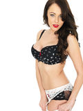 Sexy Young Pin Up Woman Wearing Lingerie and Stockings Royalty Free Stock Photos