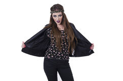 young rebellious rocker punk woman in leather Stock Images