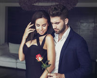 Sexy young romantic man gives rose to stylish woman. Sexy young romantic men gives rose to stylish women in luxury hotel room Stock Image