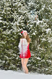 Sexy young Santa-girl in winter fir forest Stock Images