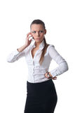 Sexy young serious business woman talk on phone Royalty Free Stock Photography