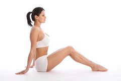 Sexy young sports woman in white knickers and bra Stock Images
