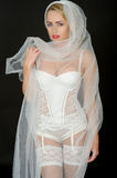 Sexy Young Wedding Bride in White Lingerie Stock Photo
