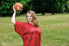 Sexy young woman - American Football Royalty Free Stock Images