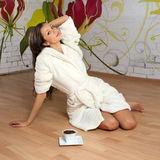 Sexy young woman in a bathrobe Stock Photo