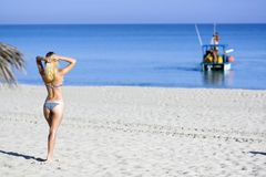 Sexy young woman on the beach Royalty Free Stock Image