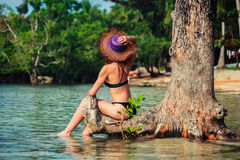 Sexy young woman in bikini by tree on tropical beach Stock Image