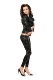 Sexy young woman in black clothes Royalty Free Stock Images