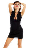 Sexy young woman in black dress Stock Images
