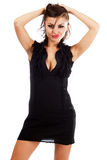 Sexy young woman in black dress Royalty Free Stock Photography