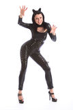 Sexy young woman in black full body pvc cat suit Stock Photography