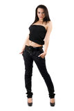 The sexy young woman in a black jeans Royalty Free Stock Photo