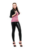 Sexy young woman in black leggings Stock Image